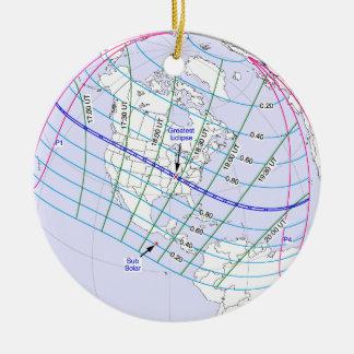 Chemin global de l'éclipse solaire 2017 totaux ornement rond en céramique
