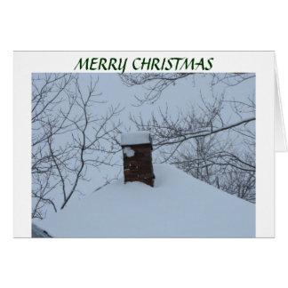 Cheminée de Milou et toit, Noël Carte De Vœux