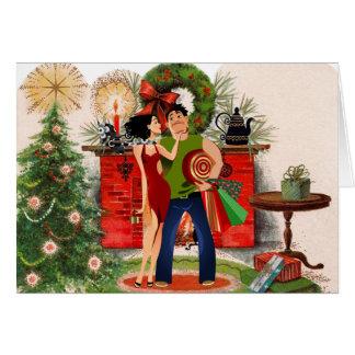 Cheminée et carte de Noël sexy de femme