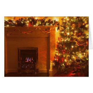 Cheminée vintage d'arbre de Noël Carte De Vœux