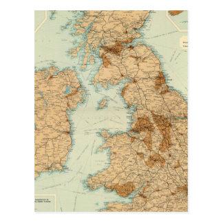 Chemins de fer d'îles britanniques et carte indust cartes postales