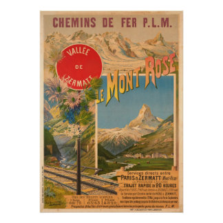 Chemins de fer P.L.M le Mont Vallee rose De Poster