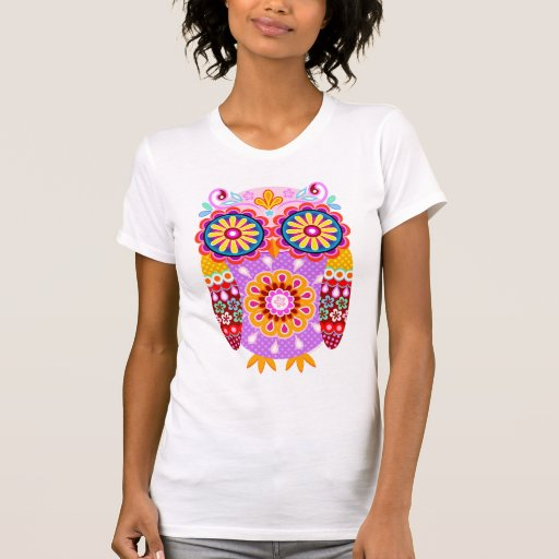 Chemise abstraite colorée de hibou t-shirts