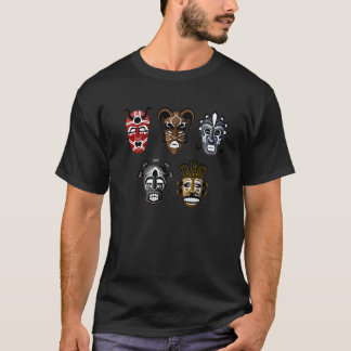 Chemise africaine de 5 masques de tribal t-shirt