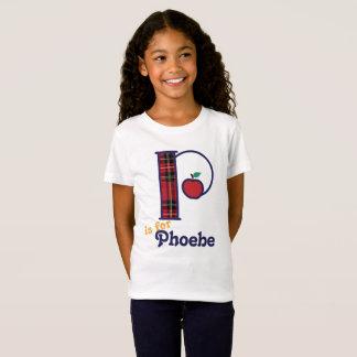 Chemise Apple P initial de monogramme d'école de T-Shirt