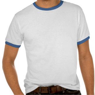 """Chemise bleue de style de """"sonnerie"""" d'étiquette d t-shirt"""
