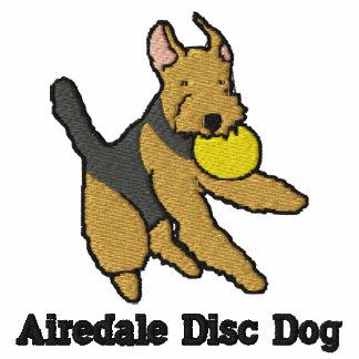 Chemise brodée par chien de disque d'Airedale (T-s