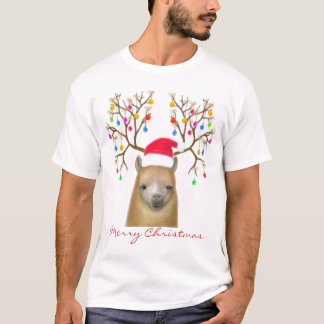 Chemise d'alpaga de Joyeux Noël T-shirt