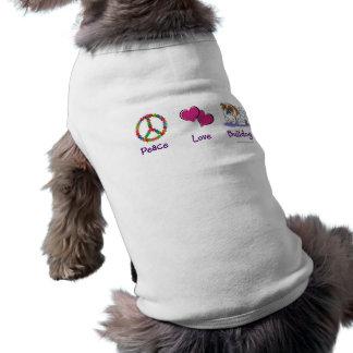 Chemise de bouledogue d'amour de paix t-shirt pour chien