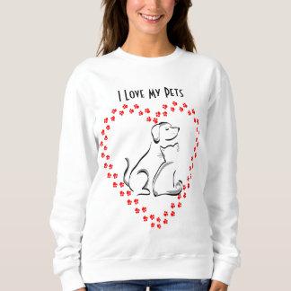 Chemise de coeur de Pawprint de chien et de chat Sweatshirt