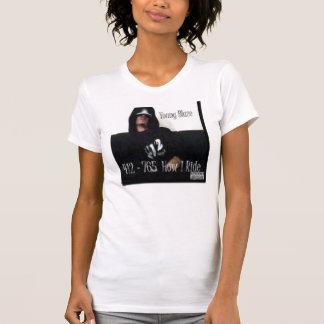Chemise de dames blanche/jeune flamme de noir t-shirts