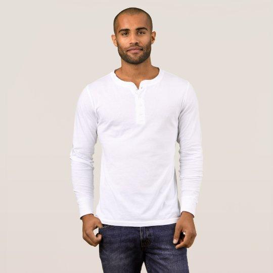 T-shirt Henley à manches longues de Bella+Canvas pour homme, Blanc