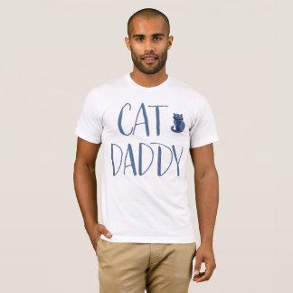 Chemise de papa de chat blanc et bleu t-shirt