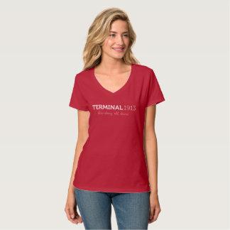Chemise de V-Cou de rouge du terminal 1913 T-shirt