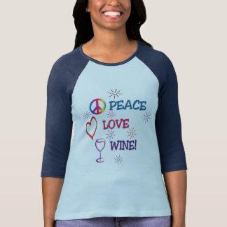 Chemise de vin d'amour de paix t-shirt