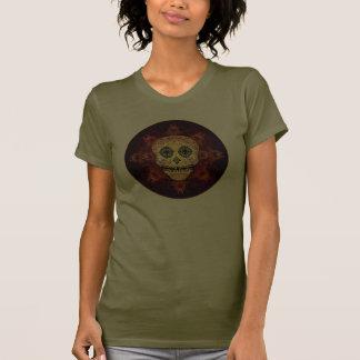 Chemise fleurie de dames de crâne de sucre de flam t-shirts
