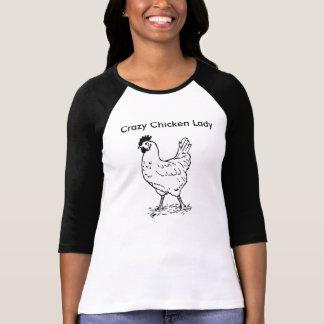 Chemise folle de Madame 3/4 douille de poulet T-shirt