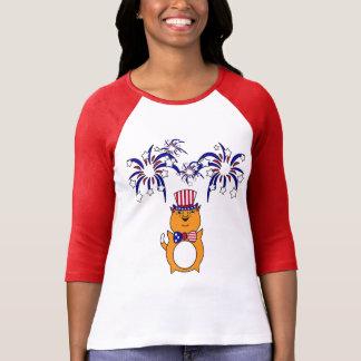 Chemise heureuse du chat des femmes 4 juillet t-shirt