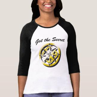 Chemise noire et blanche de base-ball de boussole t-shirt