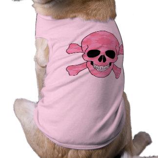 Chemise rose de crâne de camouflage et de chien t-shirt pour chien