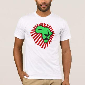 Chemise rouge de l'Afrique de lion de vert de T-shirt