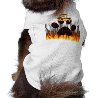 Chemise rouillée chaude de chien du feu et de flam manteaux pour toutous