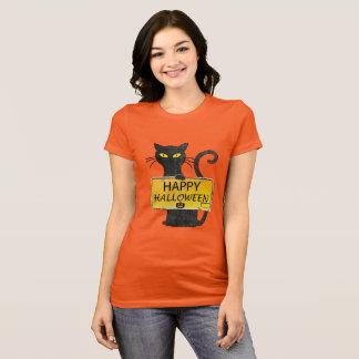 Chemise rustique heureuse de signe de chat noir de t-shirt