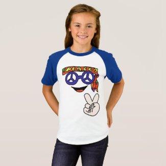 T-shirt pour fille Groovy hippy peace