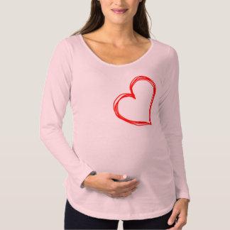 Chemisette douille lâche pour femme enceinte Coeur T-shirts