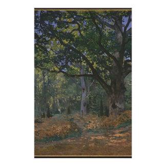 Chêne dans la forêt papier à lettre personnalisable