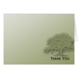 Chêne géant sur la carte de note verte de champ
