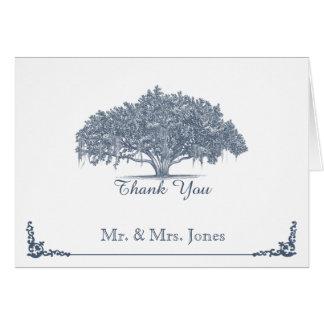 Chêne moussu dans le Merci bleu de mariage Cartes De Vœux