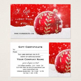 Chèque-cadeau de scintillement de Noël de neige de