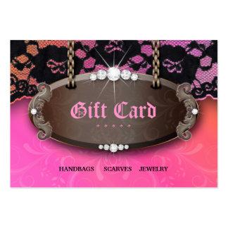 Chèque-cadeau d'orange de rose de mode de dentelle carte de visite grand format