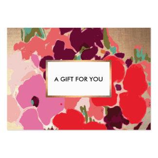 Chèque-cadeau floral vintage élégant d'or carte de visite grand format