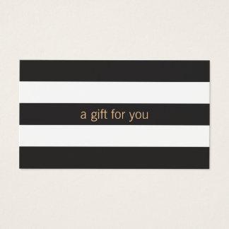 Chèque-cadeau rayé noir et blanc