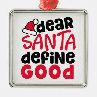 Cher ornement carré drôle de Noël   de Père Noël