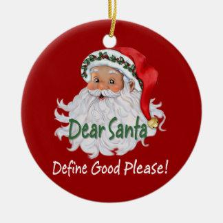 Cher Père Noël Ornaments Ornement Rond En Céramique