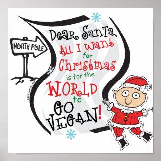 Cher souhait végétalien de Père Noël Posters