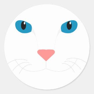 Chère Chat Blanc Sticker Rond
