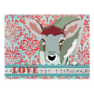 Chèrement rouge de cerfs communs et carte postale