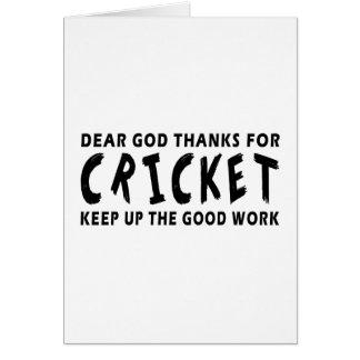 Chers mercis de Dieu de cricket Cartes