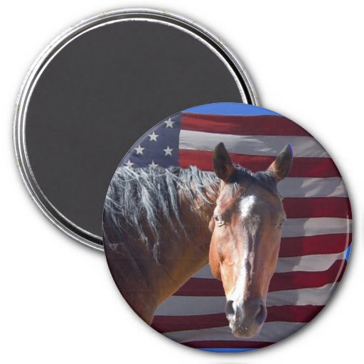 Cheval américain et drapeau quarts - patriotiques magnets pour réfrigérateur