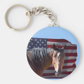 Cheval américain et drapeau quarts - patriotiques porte-clef
