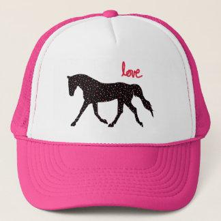 Cheval, amour et coeurs casquette