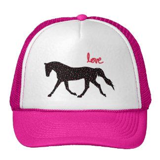 Cheval, amour et coeurs casquettes