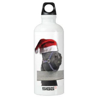 Cheval avec un casquette de Père Noël Bouteille D'eau En Aluminium