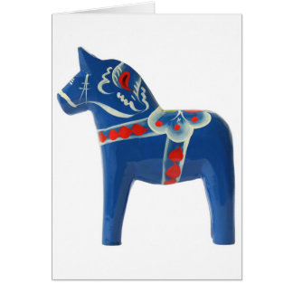 Cheval bleu de Dala de Suédois Carte De Vœux