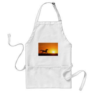 Cheval courant au coucher du soleil tablier