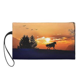 cheval courant - cheval de coucher du soleil - sacs à main avec dragonne